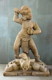 Dvarapala (Sanskrit) is a door or gate guardian often portrayed as warrior or fearsome asura giant, usually armed with a weapon. The statue of dvarapala is a widespread architectural element throughout Hindu and Buddhist cultures, as well as in areas influenced by them like Java.&lt;br/&gt;&lt;br/&gt;